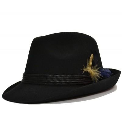 Черная шляпа с пером в тирольском или баварском стиле