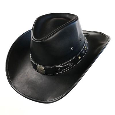 Шляпа из экокожи коричневая