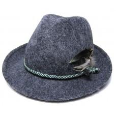 Тирольская шляпа с пером, серая