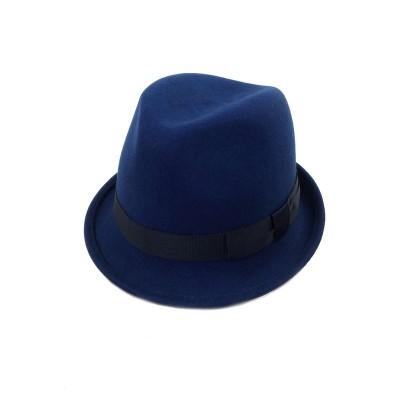 Темно-синяя шляпа Трилби