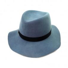 Шляпа с волнистыми полями голубая