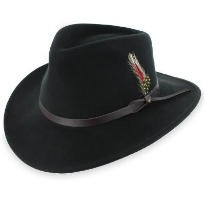 Черная шляпа Аутбек с кожаным ремешком и пером