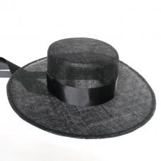 Шляпа канотье из синамей черная