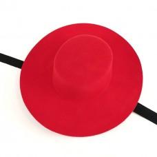 Фетровая канотье красная