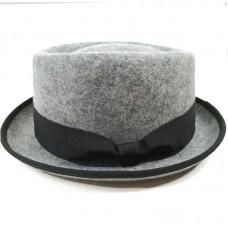 Шляпа Порк-пай серая из натурального фетра