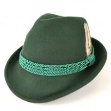 Зеленая шляпа с пером в баварском стиле Alpine hat