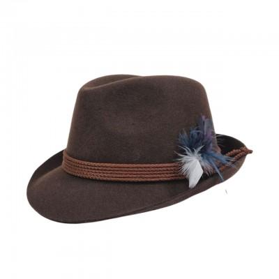 Коричневая шляпа с пером в тирольском стиле