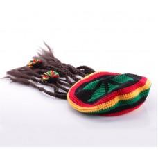 Раста шапка с дредами вязанная