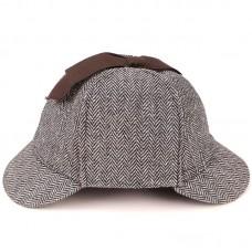 Шапка Шерлока Холмса Herringbone Grey